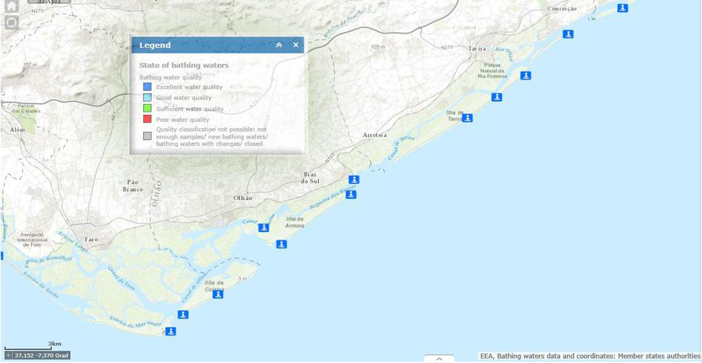 Die Wasserqualität der Strände an der Ostalgarve